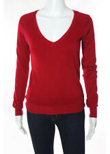 ZARA Red Cotton V-Neck Long Sleeve Pullover Sweater Sz S