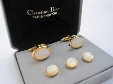 Christian Dior Mother of Pearl Cufflinks and Studs, $135 Retail, New Old Stock