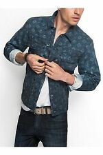 New Men's sz S GUESS Geo-Print Denim Jacket -Premium Denim