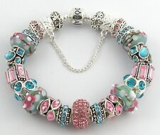Authentic PANDORA Barrel Bracelet with BEAUTIFUL European Charms & Murano Beads