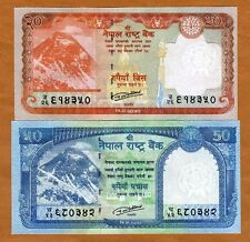 SET Nepal, 20;50 Rupees, 2015-2016, P-New, UNC   Everest, Snow Leopard, Deers