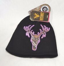 Hot Shot Realtree Xtra Como Logo Black Women's Acrylic Knit Beanie Cap Ladies