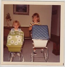 Square Vintage 70s PHOTO Pair Little Girls w/ Baby Doll Buggies