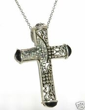 Solid 925 Sterling Silver Black Onyx Cross Pendant Necklace '