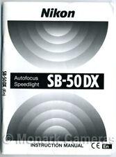 Nikon Sb-50dx Autofocus Speedlight Libro de instrucciones. más Flash Manuales Incluidos