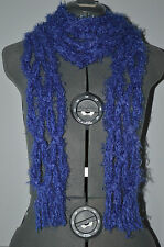"Hand Knotted Scarf = Royal Blue 100"" long , about 4"" wide"