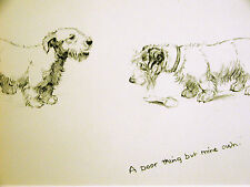 K.F. Barker 1933 TWO TERRIERS but just ONE OLD BONE Vintage Dog Print Matted