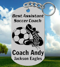 ASST SOCCER Coach Keychain Gift, Personalized with their NAME & Team! Assistant