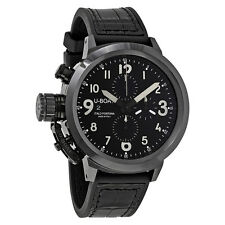 U-Boat Flightdeck 50 Black Dial Leather Mens Watch 7388