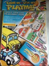 COLOR ON WIPE OFF REUSABLE PLASTIC PLAYMAT 33X28 EASY TO CLEAN-VEHICLES