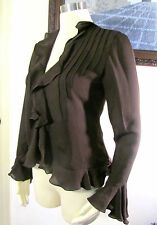 Set Lauren RALPH LAUREN Petite Chocolate Silk 100% Cardigan and Camisole Size 6P