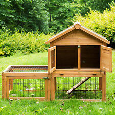"Deluxe 51"" Wooden Chicken Coop Hen House Poultry Cage Hutch Nesting Built In Run"