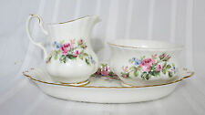 Royal Albert Bone China Moss Rose Sugar & Creamer Set with Eared Dish Vintage