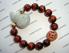 Feng Shui - Jade Wu Lou & I-Ching Coin with 12mm Red Tiger Eye