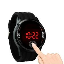 Waterproof Sport Men Watch LED Touch Screen Date Silicone Wrist Black Watch UK