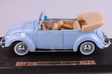 "1951 VOLKSWAGEN BEETLE CABRIOLET VW BLUE 1:18 SCALE 9"" DIECAST CAR BY MAISTO NIB"