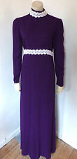 Vintage 1960s 60s 70s Purple Hippy Boho Maxi Dress UK Size 8 - 10