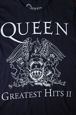 New Sz S Queen T-shirt Navy Cotton Printed White Greatest hits graphic Front