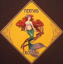 MERMAID  CROSSING Sign aluminum  art  picture painting decor home signs mermaids