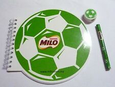 MILO New FOOTBALL SPIRAL NOTEBOOK with PENCIL RUBBER ERASER Milo Nestle MALAYSIA