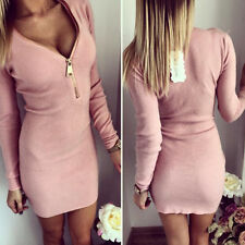 Womens Knitted Jumper Slim Stretch Bodycon Pencil Mini Dress Bodysuit Clubwear