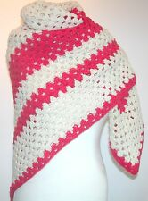 "Vintage Mano Crochet chal-Pink & Off White - 40 ""Square"