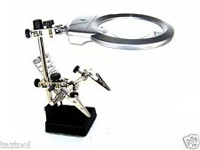 Helping Hand Soldering Stand With 2 LED Light Clip Magnifier Magnifying Glass
