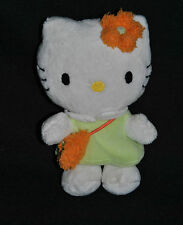 Peluche Doudou Chat HELLO KITTY SANRIO Blanc Robe Vert Fleur Orange 15 Cm TTBE
