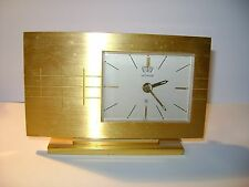 VINTAGE LeCOULTRE 8 DAY DESK CLOCK WITH 24 HOUR ALARM IN GOOD WORKING ORDER