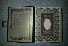 Antique Leather Bound,  Brass Clasp Photo Album, Colorful Etchings, itself ART
