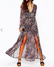 New Missguided Boho Paisley Print Maxi Dress Black Multi Sz 12 RRP- £35.00