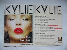 """KYLIE Live in Concert """"Kiss me Once"""" 2014 UK Arena Tour. Promo card flyers x 2"""