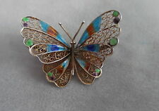 LARGE PLIQUE A JOUR SILVER BUTTERFLY BROOCH