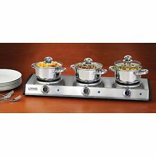 Electric Triple Slow Cooker & Buffet Server, 3 Station Food Party Warming Tray