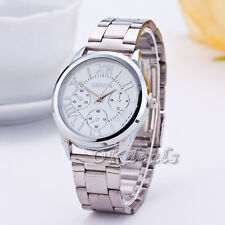 Luxury Geneva Women Lady Silver Stailess Steel Roman Analog Quartz Wrist Watch