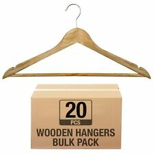 20 x WOODEN COAT HANGERS SUIT GARMENTS CLOTHES WOOD HANGER TROUSER BAR SET