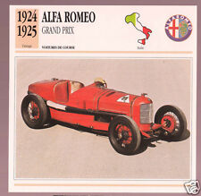 1924-1925 Alfa Romeo Grand Prix GP Race Car Photo Spec Sheet Info French Card