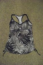 new womens liz lange maternity black multi printed tankini swimsuit top size sm