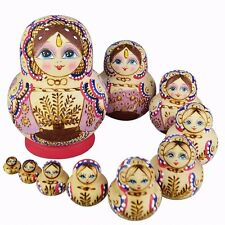 10 Little Girl and Tree Wooden Handmade Hand-painted Russian Nesting Dolls Dolls