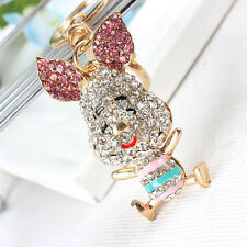 Lovely Pig Ear Cute Rhinestone Crystal Charm Purse Bag Key Chain Creative Gift