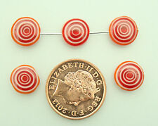 35 red/white lampwork flat disc beads for jewellery making size (mm) 10