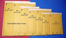 14 KRAFT BUBBLE MAILING PADDED ENVELOPE VARIETY ~ 7 LARGE SIZES ~ MADE IN USA!