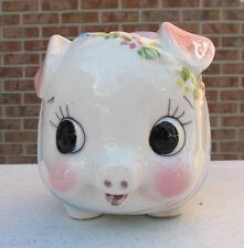 Vintage Sweet Big Eyes Piggy Bank Pig with Flowers & Blue Ribbon Bow Japan MIJ