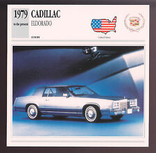 1979-1991 Cadillac Eldorado Car Photo Spec Sheet Info Stat ATLAS CARD