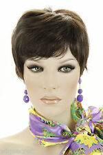 Dark Brown Brunette Short Monofilament Hand Tied Wavy Straight Wigs