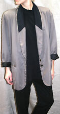 "VINTAGE 80s PLUS SIZE ladies BLAZER taupe & black 48"" bust jacket LINED padded"