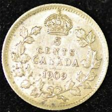 1909 XF, Cross/Bow Tie, Pointed Leaves, Canadian Five Cents Silver