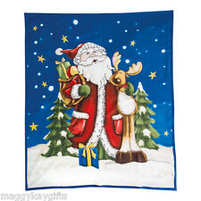 Santa and Rudolph Large Fleece Blanket Throw Christmas Decoration 160 x 130 cm