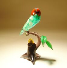 """Blown Glass """"Murano"""" Art Figurine Bird OWL with Red Eyes on a Branch"""