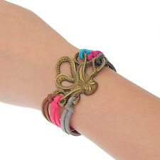 1PC NEW Charm Bracelet Cute Bronze Tone Korea Velvet Octopus 19cm